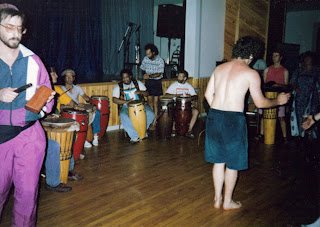 A free drum jam with Arthur Hull at the Omega Institute, 1993. Photo credit: John Hamilton