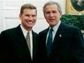 Anti-gay homosexual preacher Ted Haggard with friend George W. Bush
