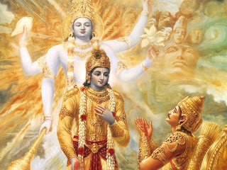 Krishna revealing his divine form to Arjuna