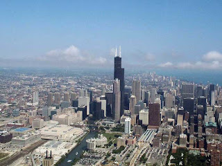 Chicago skyline, with the Sears Tower dwarfing everything around it