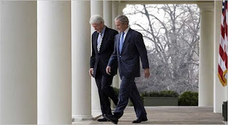 Clinton and Bush enjoying their new role as something or other in regard to earthquake relief. Trust them as far as you can throw them, not how far you'd like to throw them.
