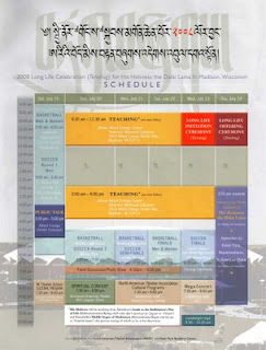 Schedule for the week of ceremonies and activities during the Dalai Lama's visit