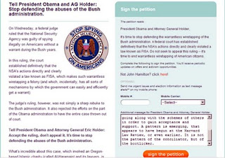 CREDO petition to President Obama demanding that he stop his continuation of the abuses of the Bush criminal regime. When you send one of these petitions you get to add a paragraph of your own ideas.