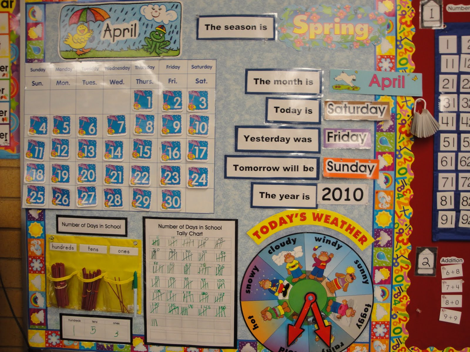 In the upper grades, a simple calendar with basic daily information
