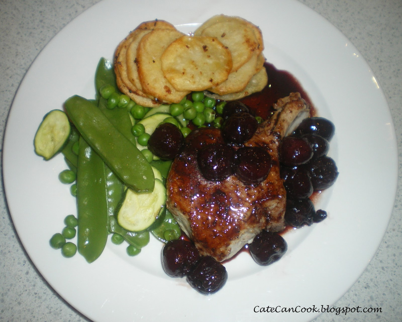 ... , So Can You!!: Pork Cutlets with Cherry Port Sauce and Potato Crisps