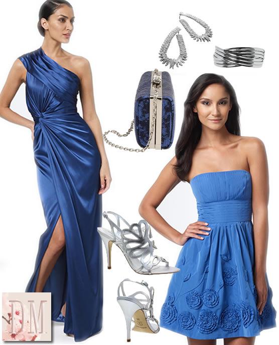 Acessorios para vestido azul curto
