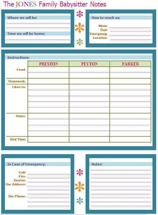 Versatile image throughout babysitter information sheet printable