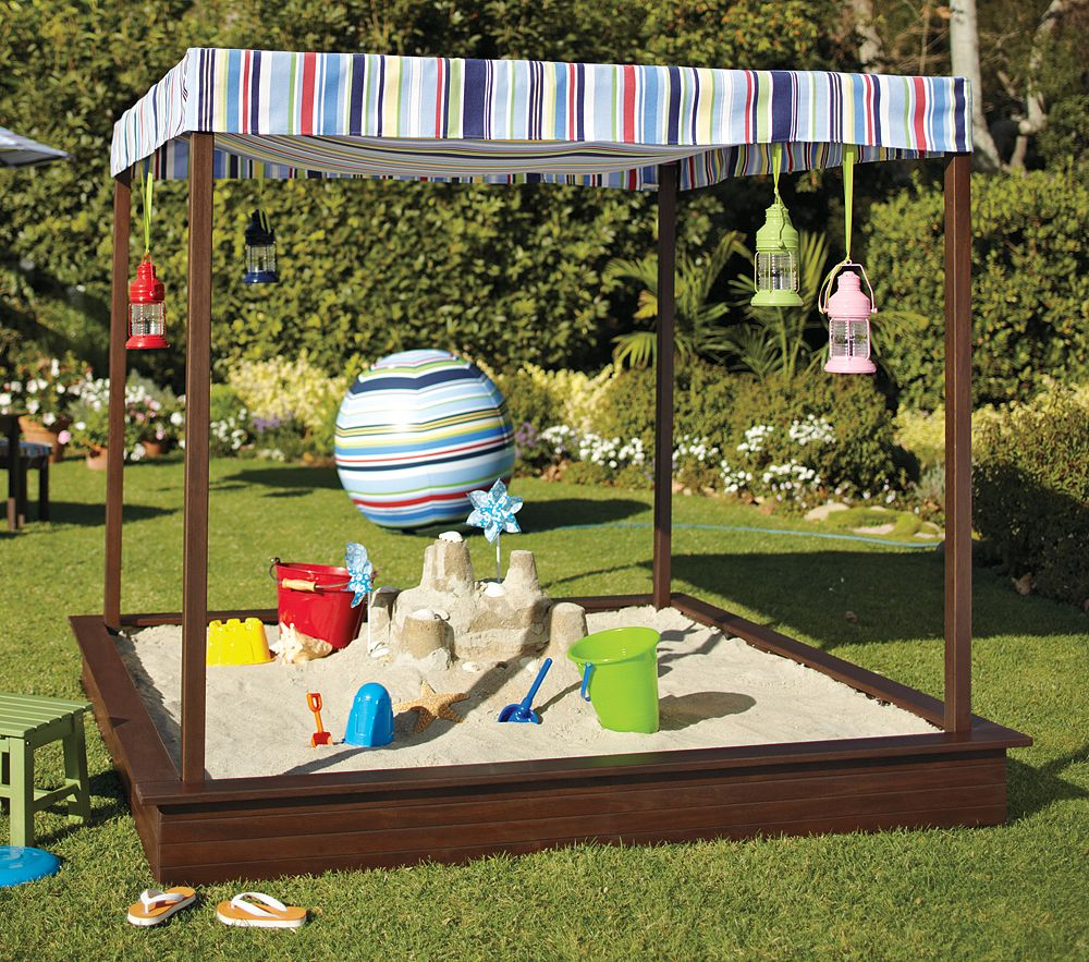 Backyard Sandpit : IHeart Organizing May Featured Space Outdoors  Sandbox Shade
