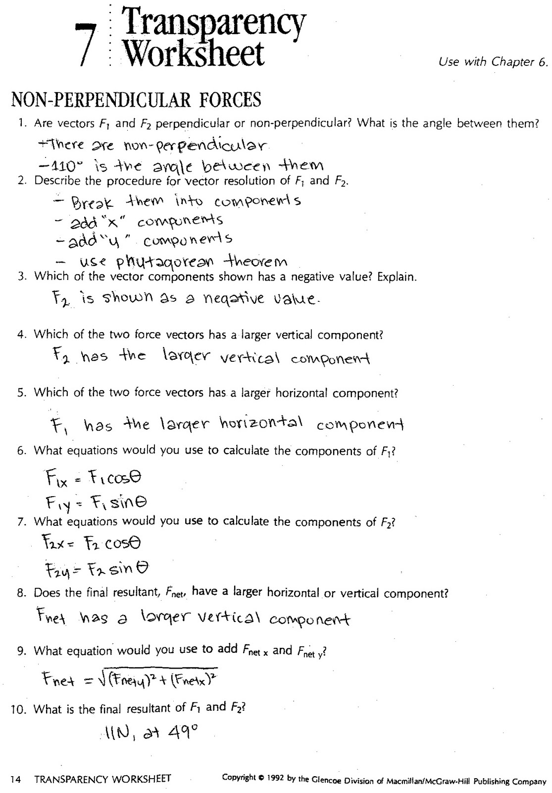 Physics12Fall2010 2010 – Vector Components Worksheet