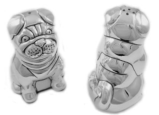Silver Plated Pug Salt and Pepper Shakers
