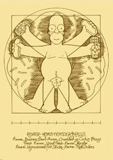 Homer Simpson as The Vitruvian Man