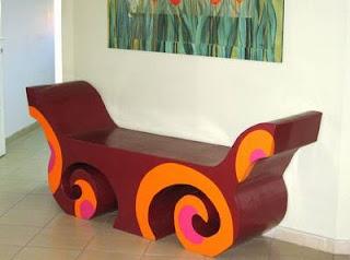 Cardboard  carton bench furniture