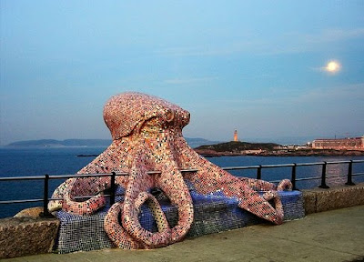 mosaic octopus sculpture