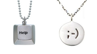 Help button and Emoticon pendants - geek necklace