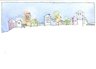 Village Skyline Watercolor Painting