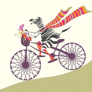 zebra on a bike illustration