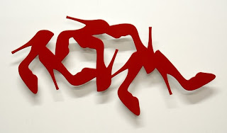 red shoes sculpture