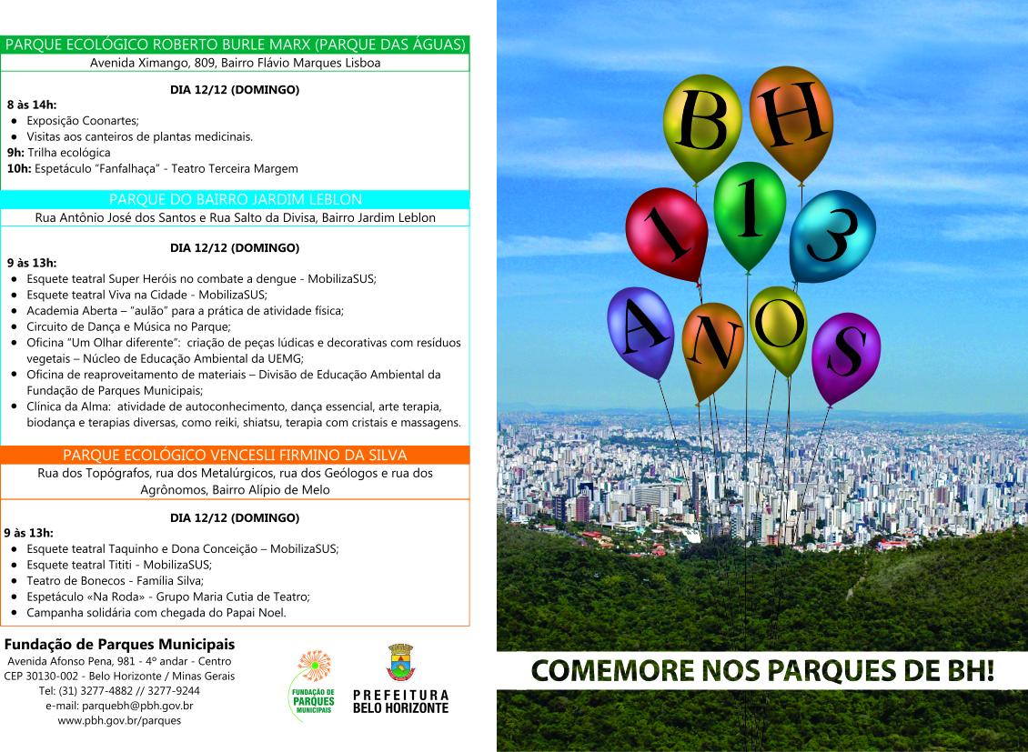 Aniversário da cidade de Belo Horizonte dia 12 de dezembro