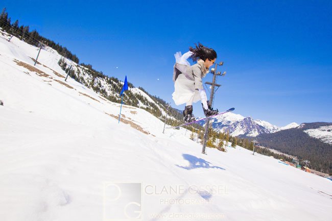snowboarding and skiing with the bride and groom wedding photos, snowboarding wedding, mountain wedding