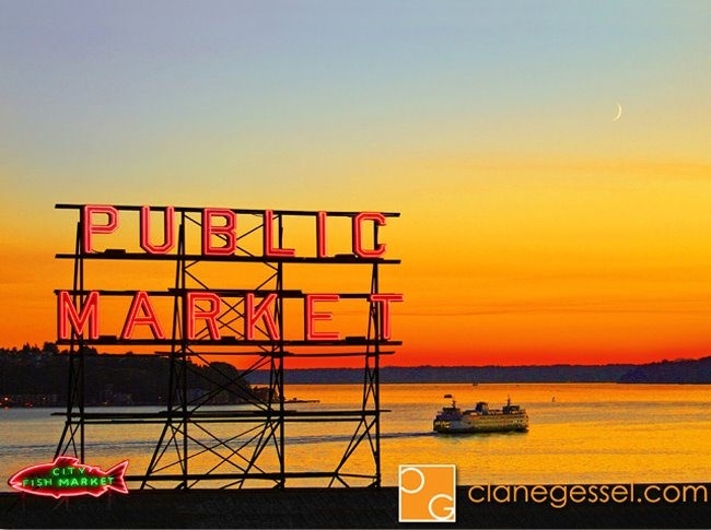 The Pike Place Market Sign sunset ferry seattle public market center sign picture photo photography
