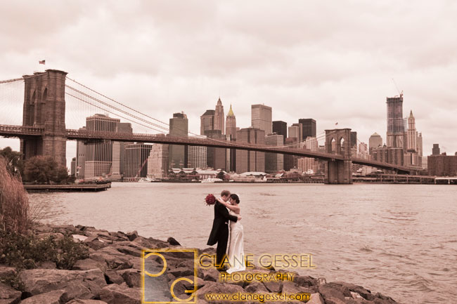 brooklyn bridge, empire-fulton ferry state park, new york city skyline, best NYC weddings