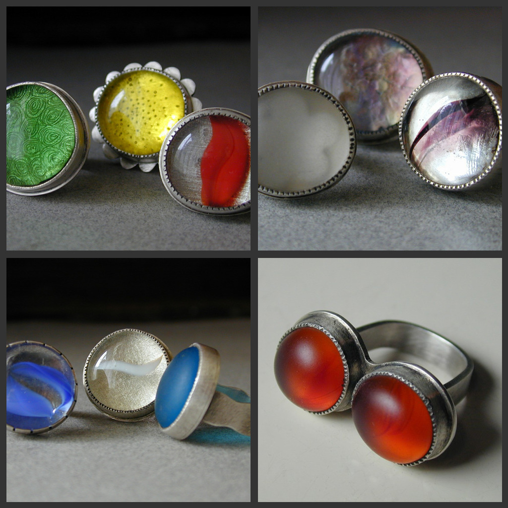 Betsy bensen jewelry just for fun sterling glass rings for Jewelry just for fun