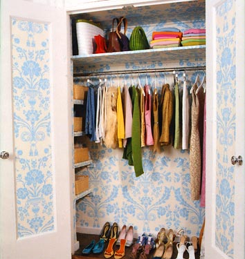 The terrier and lobster fun with paint and wallpaper in confined spaces - Open closets small spaces paint ...