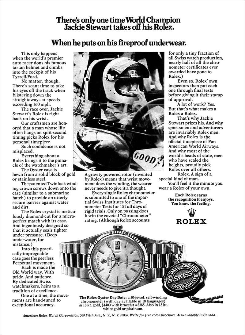 Una cesta llena de Rolex Jackie-Stewart-Rolex