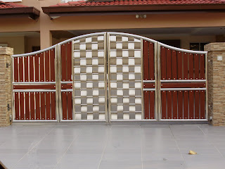 Peace design renovation stainless steel main gate with aluminium wood for Wooden main gate design for home
