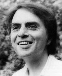 I like Carl Sagan, but I looked in`vain for a piture of him *not smiling*.