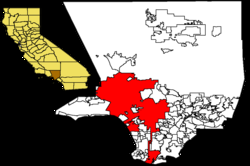 Los Angeles county (white) and city (red)