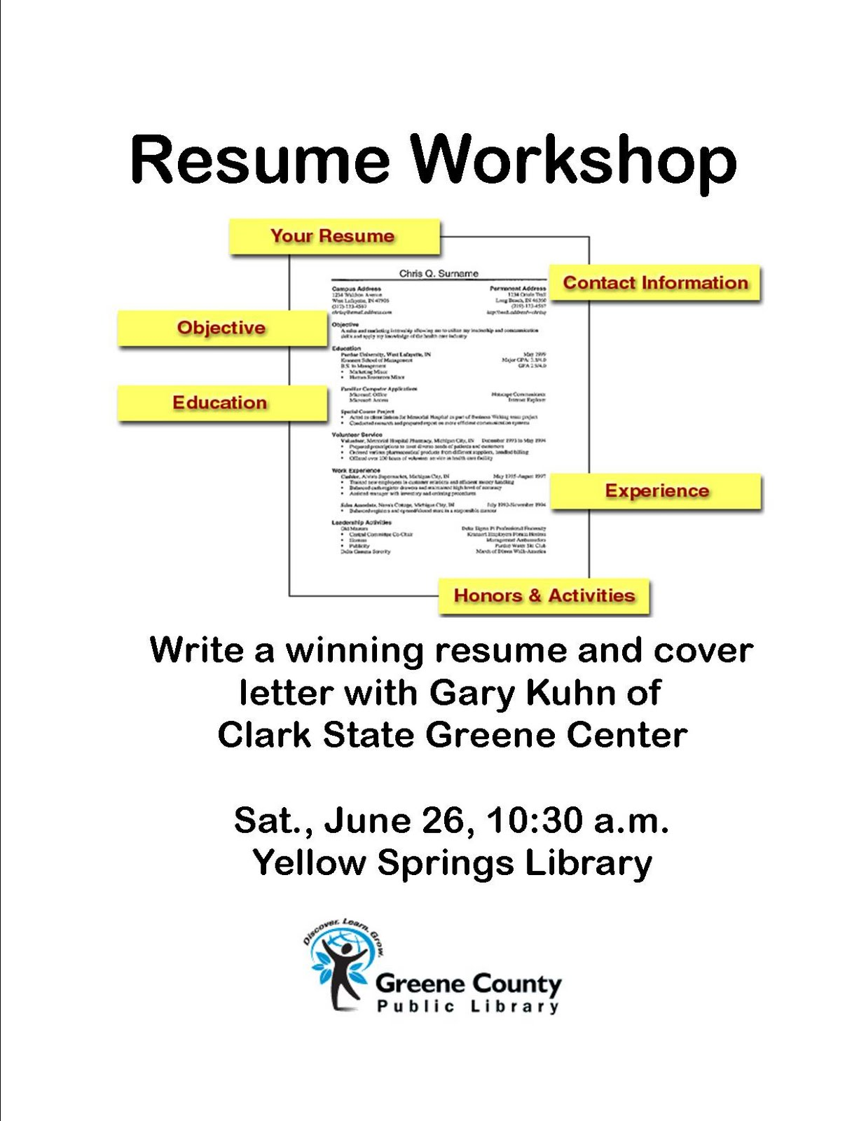 a yellow springs resume workshop at library