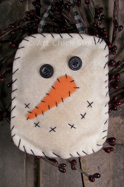 Primitive snowman face ornie tattered sisters primitives for Snowman faces for crafts