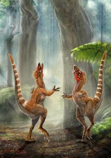 Un pequeño dinosaurio tenía una cola blanca y anaranjada