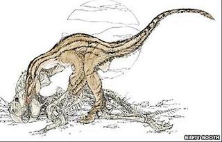 Recreación de uno de los dinosaurios devorando a otro. Brett Booth