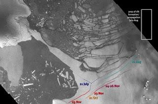 Imagen captada por un satélite de la ESA que muestra la ruptura de hielo en la Antártida. ESA