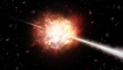Recreación artística de la explosión de rayos gamma. ESO