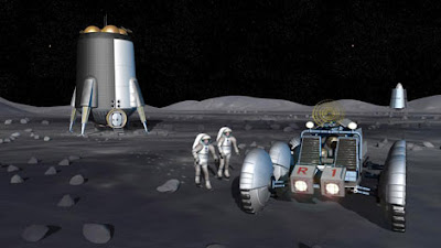 Recreación artística de la futura base lunar proyectada por la NASA