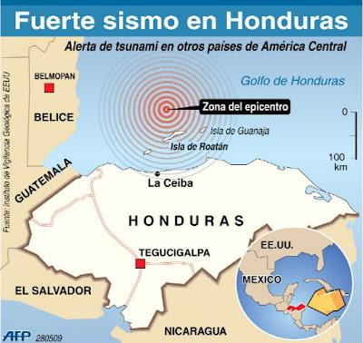 Fuerte terremoto en Honduras. AFP