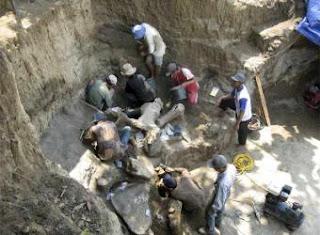 Un equipo de paleontólogos trabaja en Java en el yacimiento del esqueleto de un elefante gigante de hace más de 200.000 años.- EFE