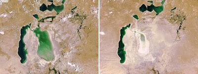 Imágenes del mar de Aral en 2006 y 2009 captadas por el satélite Envisat. Afp / ESA