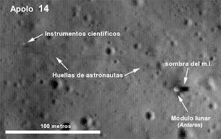 Una fotografía del sitio de alunizaje de la misión Apollo 14, tomada con la cámara LROC