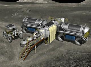 Dibujo de una base lunar de primera generación prevista en el programa Constellation de la NASA