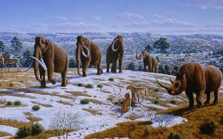 Recreación artística de la fauna glaciar prehistórica que habitaba nuestra península. P.Novák