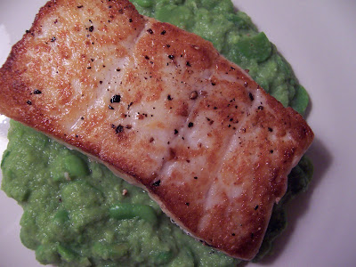Kirsten's Recipes: Pan-Seared Halibut with Fava Bean Puree