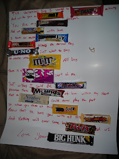 It is a poem he made up with candy bars.. in case you can ...