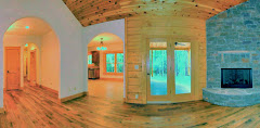 Inside a new log home is cheery & bright