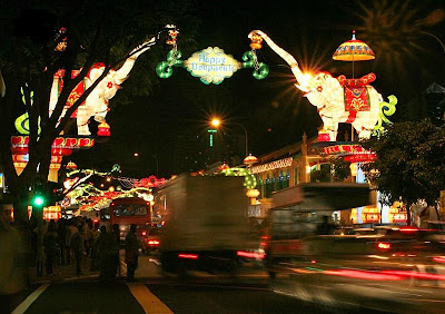 Scene on the Serangoon Road in Singapore during the Festival of Lights celebrations