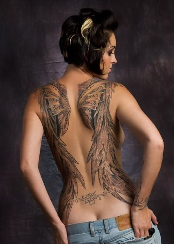 Hot wings tattoo tatattooto art gallery for Hot female back tattoos