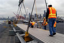 Photo of I-90 bridge joint inspection